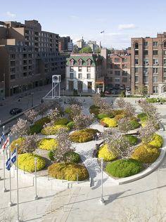 Esplanade atop the Palais des Congrès parking garage, Montreal, Canada by… Landscape Plaza, Urban Landscape, Landscape Design, Plant Design, Garden Design, Public Space Design, Public Spaces, Urban Nature, Urban Park