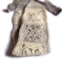 Crochet Headband, Boho Knit Hairband in Fuzzy Light Gray and Ivory White