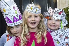 Colouring in fancy dress party with princesses, fairies and mermaid outfits.