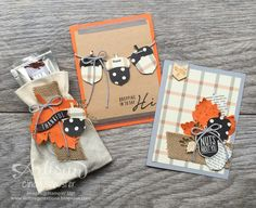 Acorny Thank You Stamp Set with the Acorn Builder Punch to make these Fall projects ~ Cindy Schuster