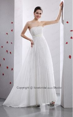 Pure White Contracted Chiffon Pleated A-line Maternity Wedding Gown