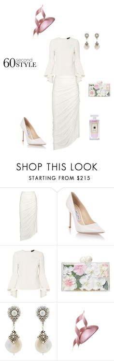 """""""Day At The Races"""" by denise-grimes ❤ liked on Polyvore featuring Rick Owens, Jimmy Choo, Exclusive for Intermix, Ashlyn'd, Miguel Ases, Philip Treacy and Jo Malone"""