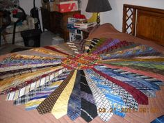 My aunt made this quilt out of my brother in laws old neckties, after he died, for my sister.