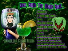 magic Spell (Apple vodka, sprite, green and yellow food coloring) Party Drinks, Cocktail Drinks, Fun Drinks, Yummy Drinks, Alcoholic Drinks, Liquor Drinks, Cold Drinks, Green Apple Vodka, Disney Cocktails