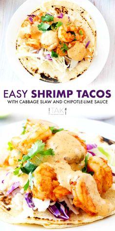 Shrimp Taco Sauce, Shrimp Taco Recipes, Fish Recipes, Mexican Food Recipes, Easy Shrimp Tacos, Mexican Dishes, Cooking Recipes, Healthy Recipes, Chipotle Sauce