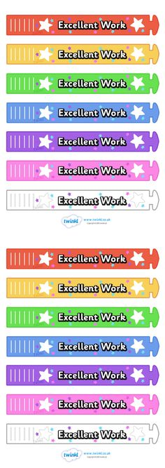 Twinkl Resources >> Wristband Awards Excellent Work  >> Classroom printables for Pre-School, Kindergarten, Primary School and beyond! wristband, band, award, reward, achievement, school reward, prize, personal, gift, star of the week, good work, keep it up, well done, excellent work,