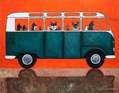 Recogiendo pollos Cat arte popular impresión 8 por KilkennycatArt