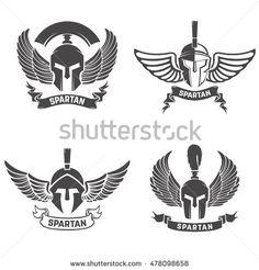 Set of the spartan helmets with wings. Design elements for logo, label, emblem…