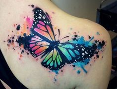 Colored Butterfly Tattoo On Right Back Shoulder