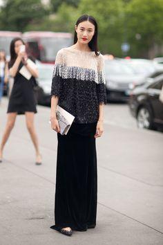 Black long skirts; model's street style fashion on Haute Couture 2013 #fashion #womensfashion #streetstyle