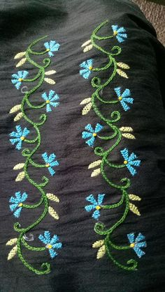 Getting to Know Brazilian Embroidery - Embroidery Patterns Embroidery On Kurtis, Kurti Embroidery Design, Embroidery Neck Designs, Hand Embroidery Flowers, Hand Work Embroidery, Creative Embroidery, Simple Embroidery, Shirt Embroidery, Hand Embroidery Stitches
