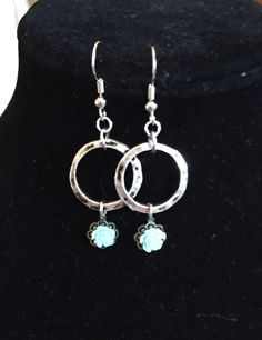 Pinterest-inspired Hobby Lobby earrings! Hammered silver ring with tiny colored rosettes. Have one in just about every color!
