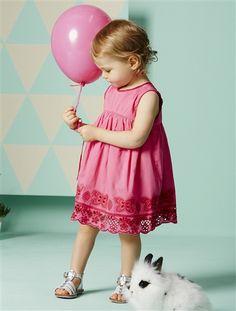 Festliches Babykleid Baumwollsatin Mädchen FUCHSIA