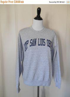 80's 90's Vintage sweatshirt Camp San Luis Obispo Slo            grey gray