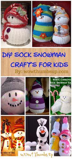 DIY Sock Snowman Crafts Tutorials for Christmas Ornament Decoration Snowman Christmas Decorations, Snowman Ornaments, How To Make Ornaments, Christmas Snowman, Handmade Christmas, Christmas Crafts, Christmas Ornaments, Winter Decorations, Sock Snowman Craft