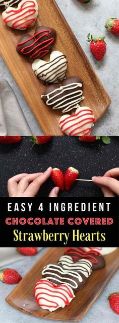 Chocolate Covered Strawberry Heart – The easiest and most beautiful homemade gifts around! It takes 30 minutes to make and taste absolutely heavenly. Fresh and juicy strawberries are cut in half, making the heart shapes, then covered with gourmet semisweet or white chocolate. Decorate them with red decorating gel and melted chocolate. Just 4 ingredients are all you need! So good! Quick and easy recipe, no bake dessert, valentine's recipe, mother's day recipe. Video recipe. | Tipbuzz.com