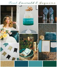 Teal, Emerald & Gold Sequins: Wedding Inspiration & Colour Ideas see more at http://www.wantthatwedding.co.uk/2015/02/22/teal-emerald-gold-sequins-wedding-inspiration-colour-ideas/
