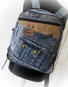 jean backpack denim backpackrecycled jeansdenim