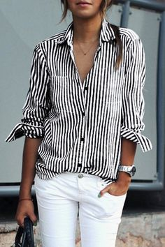 stripe collared shirt + white jeans
