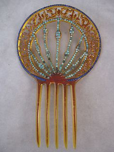 Vintage Celluloid Haircomb Blue Green Stones CA 1920's Hair Jewelry | eBay