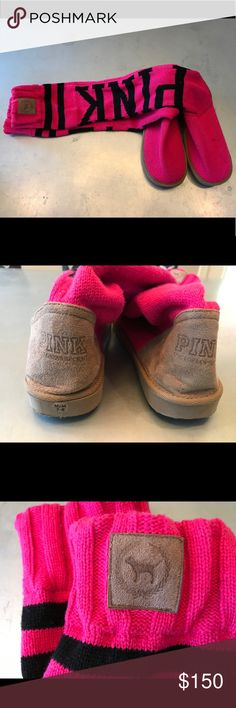 PINK Victoria's Secret Mukluk Sweater Sock Boots M No longer available, PINK Victoria's Secret sweater/sock Mukluk boots. Size M7/8, hot pink, black and tan suede. In very good condition from a smoke free home. PINK Victoria's Secret Shoes