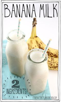 Banana Milk – 2 Ingredients Just water and bananas to make this easy vegan milk substitute. A great recipe to have on hand for when you run out of milk. Tastes great on cereal, oatmeal… Milk Recipes, Cream Recipes, Vegan Recipes, Baby Recipes, Smoothies, Smoothie Recipes, Healthy Eating Tips, Healthy Drinks, Healthy Nutrition