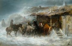 Adolf Schreyer Winter Storm oil on canvas x Winter Storm, European Paintings, Winter Scenes, Oil On Canvas, Shelter, Horses, Pictures, 19th Century, Bing Images