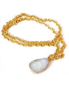 Gold Plated White Druzy