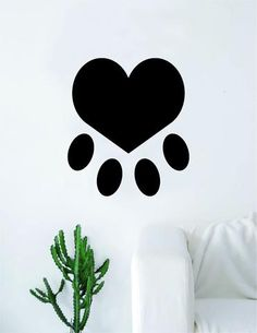 Dog Paw Print Heart Decal Sticker Wall Vinyl Art Home Decor Teen Doggy Puppy Vet Adopt