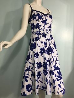 Blue-White-Floral-Womens-Allen-B-ABS-Dress-Size-10-Sundress-Maxi-Spring-Summer