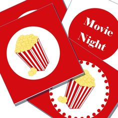 Movie Night popcorn toppers Gift tags  Printable by LexiekinPrints, $3.99