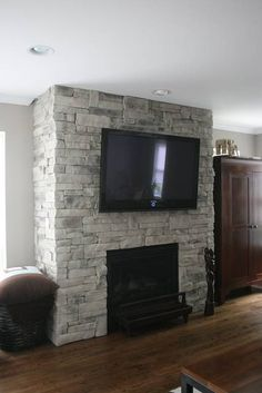 This faux or manufactured stone can dress up a brick fireplace that needs a refacing, and works well with a new wood mantel or TV with your new stone fireplace. Like this design? Visit us www.northstarstone.biz Design # code: Dry Stack Stone Fireplace 02