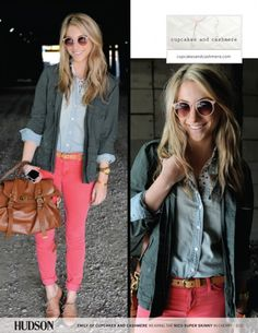 Emily Schuman of Cupcakes and Cashmere wearing coral jeans, brown oxford flats, a chambray top, gray cardigan, Celine sunglasses, and carrying Mulberry's Alexa bag in oak.