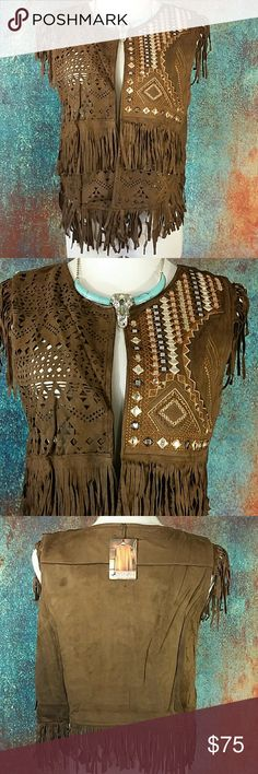 """🆕Boho Fringe Vest Gorgeous Montana West faux suede vest with fringe, punch out detail, embroidery silver mirrored accents. A Must Have! One Size Fits Most. Coffee color.  20 """" across chest lying flat, 24 """" long including fringe, 11 """" armhole lying flat. Also available in Khaki & Turquoise in other listings. Montana West  Jackets & Coats Vests"""