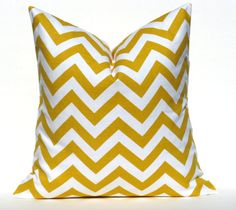 Decorative Throw Pillow Cover Yellow Pillow Chevron by EastAndNest