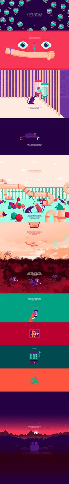 Beautifully illustrated animations in this colorful One Pager bringing awareness to the truths behind addiction. Great to see serious topics being executed well in an interactive Single Page website - stellar work this by Moby Digg.