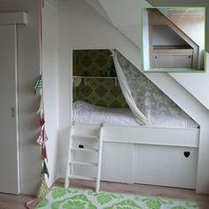 I want this for her next bedroom Next Bedroom, Bedroom Nook, Boy Toddler Bedroom, Girls Bedroom, Kids Room Design, Interior Design Living Room, Bed Under Stairs, Diy Bett, Childrens Beds
