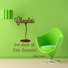 Chocolate Wall Decals Quotes Think Chocolate by WallDecalswithLove