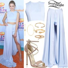 Chloe Lukasiak attended the Nickelodeon Kids' Choice Awards at USC Galen Center in Los Angeles wearing a John Paul Ataker ensemble (Not available online), Dana Seng Evangeline Diamond Hoop Earrings ($1,580.00), a Skyfall Pearl Bangle ($550.00), a Panther Bangle ($600.00) and a Snake Bangle ($400.00) all by Nialaya, and Brian Atwood Tamara Sandals (Not available online).