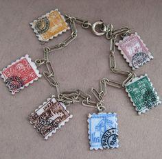 Pretty  VINTAGE SILVER Enamel Postage Stamp Charm BRACELET