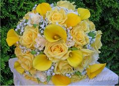 BB0008-Yellow Rose, Mini Calla Lily, and Babies Breath Brides Bouquet