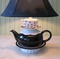 Teapot Lamp, Black and White, Stacked Teapot, Heart Tea Cup, Check and ...
