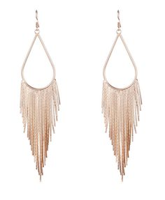 Gold Metal Long Tassel Drop Earrings