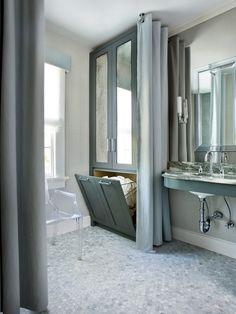 SallyL: Mark Williams Design - Glam bathroom with gray custom cabinets hamper with antique ...