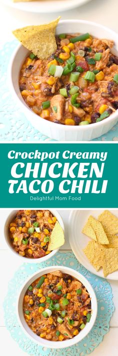 Creamy Chicken Taco Chili made in the slow cooker! Serve like soup or over chips as nachos for a fabulous meal! Slow Cooker Soup, Slow Cooker Recipes, Beef Recipes, Cooking Recipes, Kebab Recipes, Pizza Recipes, Soup Recipes, Easy Baked Chicken