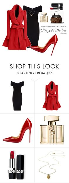 """""""Classy Red"""" by perezbarrios on Polyvore featuring Maje, WithChic, Christian Louboutin, Gucci, Christian Dior and Kate Spade"""