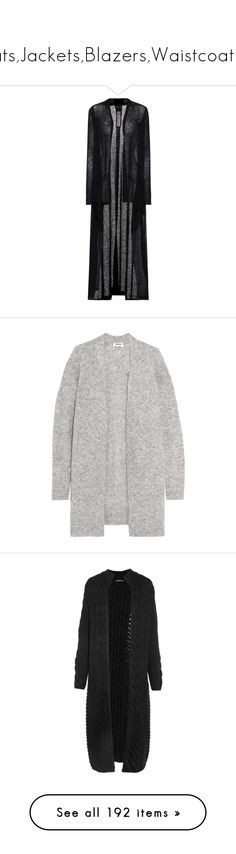 """""""Coats,Jackets,Blazers,Waistcoats....."""" by defneveomer ❤ liked on Polyvore featuring tops, cardigans, black, cardigan top, long tops, rick owens cardigan, long cardi, rick owens top, sweatter and jackets"""