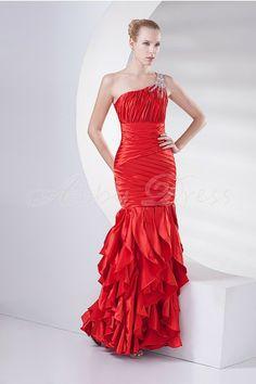 Stretch satin Ankle-length One Shoulder, Sloping shoulder Red Modern, Unique, Elegant Evening Dresses Formal Evening