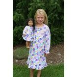 Long Sleeve White and Purple Flower Nightgown Matching for Girl and American Girl or Bitty Baby Doll $36.00 www.weeline.com