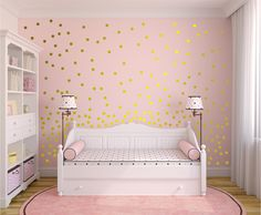 Metallic Gold Wall Decals Polka Dots Wall Decor -  Polka Dot Wall Decals Set of 110 by MundodeSofia on Etsy https://www.etsy.com/listing/253589984/metallic-gold-wall-decals-polka-dots